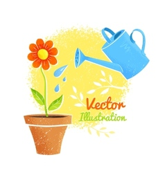 Flower and watering can vector