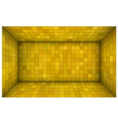 Empty futuristic room with yellow mosaic walls vector
