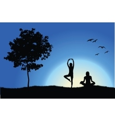Two yoga girls on hill near tree blue background vector