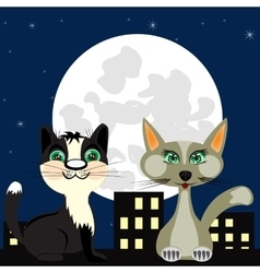Two cats on roof vector