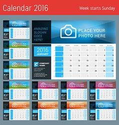 Design print calendar template for 2016 year place vector