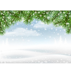Winter background with pine branches vector