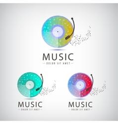retro vinyl music logo icons vector image