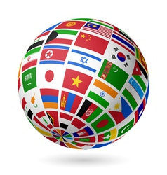 Asian flags globe vector