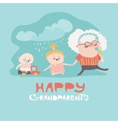 Happy grandmother with their grandchildren vector