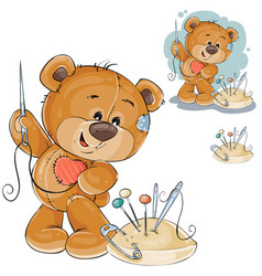 a teddy bear sewing on vector image vector image