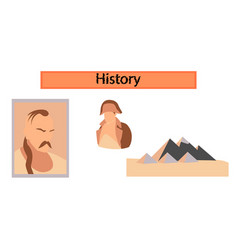 Assembly flat icons history lesson pyramid vector