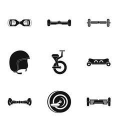 Balancing scooter icon set simple style vector