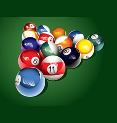 billiard balls on the table vector image vector image