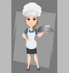chef woman holding restaurant cloche cute cartoon vector image