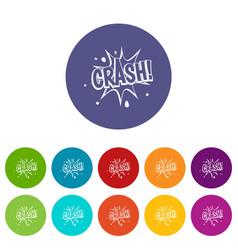 crash explosion icons set flat vector image vector image