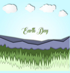 earth day 3d with landscape of vector image
