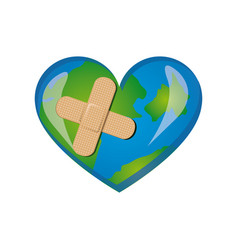 Earth planet heart with band aid icon vector