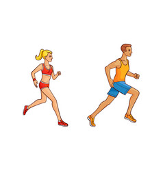 flat girl and man running vector image vector image