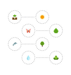 flat icons beauty insect sprout water and other vector image vector image