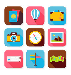 Flat Travel and Vacation Squared App Icons Set vector image