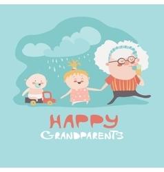 Happy grandmother with their grandchildren vector image