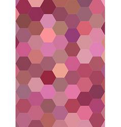 Hexagon mosaic background design in pink tones vector