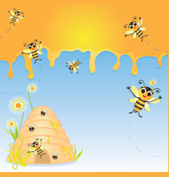Honey Bee Party Invitation vector image