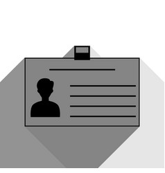 Identification card sign black icon with vector