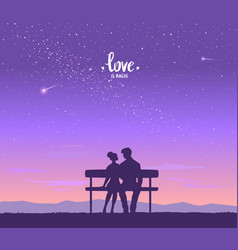 lovers on the bench vector image