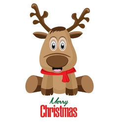 Merry Christmas and Reindeer isolated on white vector image