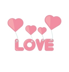 pink lettering love hearts hanging vector image vector image