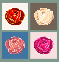 rose flower emblem set vector image vector image