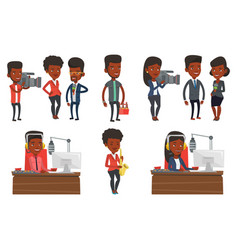 Set of media people characters vector
