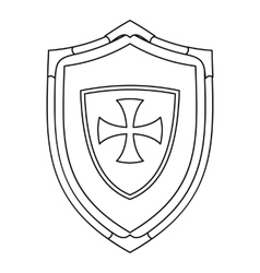 Shield with cross icon outline style vector