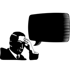 Silhouette of thinking man with speech bubble vector image