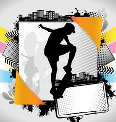 skateboarder summer frame vector image