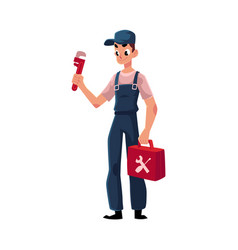 smiling plumbing specialist plumber standing with vector image vector image