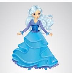 Snow queen in blue dress vector