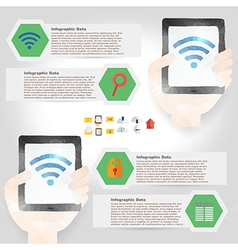 tablet infographic element in polygon design for vector image