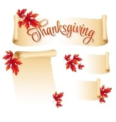 Thanksgiving scroll with autumn leaves vector