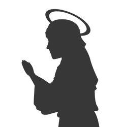 virgin mary silhouette icon vector image vector image
