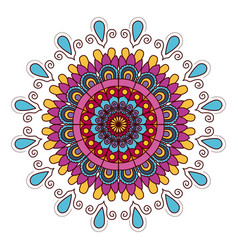 white background with colorful flower mandala vector image vector image