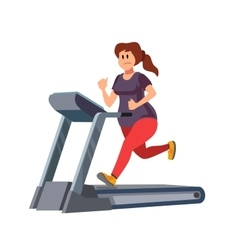 Woman running on treadmill vector