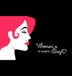 Womens day 8 march design with girl face vector