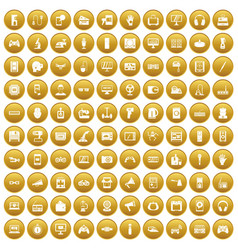 100 device app icons set gold vector