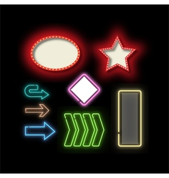 Retro frames and Neon lights frame set vector image