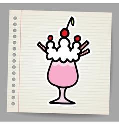 Milkshake with cherry vector image
