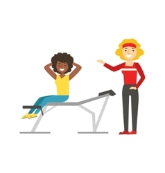 Woman exercising abs with help of personal trainer vector