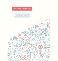 Welcome to ukraine- line design brochure poster vector