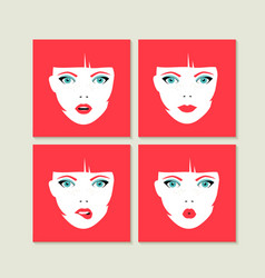 Set of colorful girl faces concept vector