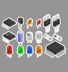 Electronic components stickers vector