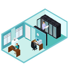 isometric data center template vector image