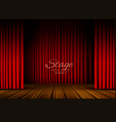 Open red curtains stage theater or opera vector