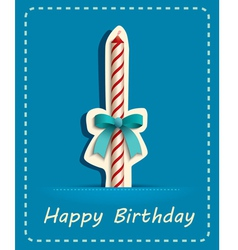 Happy birthday card candle and ribbon vector